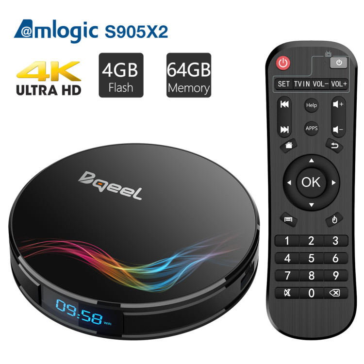 Bqeel Android 8.1 TV Box with 4GB RAM 64GB ROM, Y4 MAX Amlogic S905X2 Quad Core ARM Cortex A53 64Bits, WiFi 2.4G/5.0G 3D Ultra HD 4K(60Hz) H.265 BT 4.0 USB 3.0 [2019 Version]