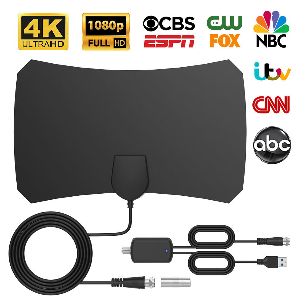 Bqeel Digital Amplified Indoor HD TV Antenna Up to 120 Miles Range, Amplifier Signal Booster Support 4K 1080P UHF VHF HDTV Channels,Coax Cable