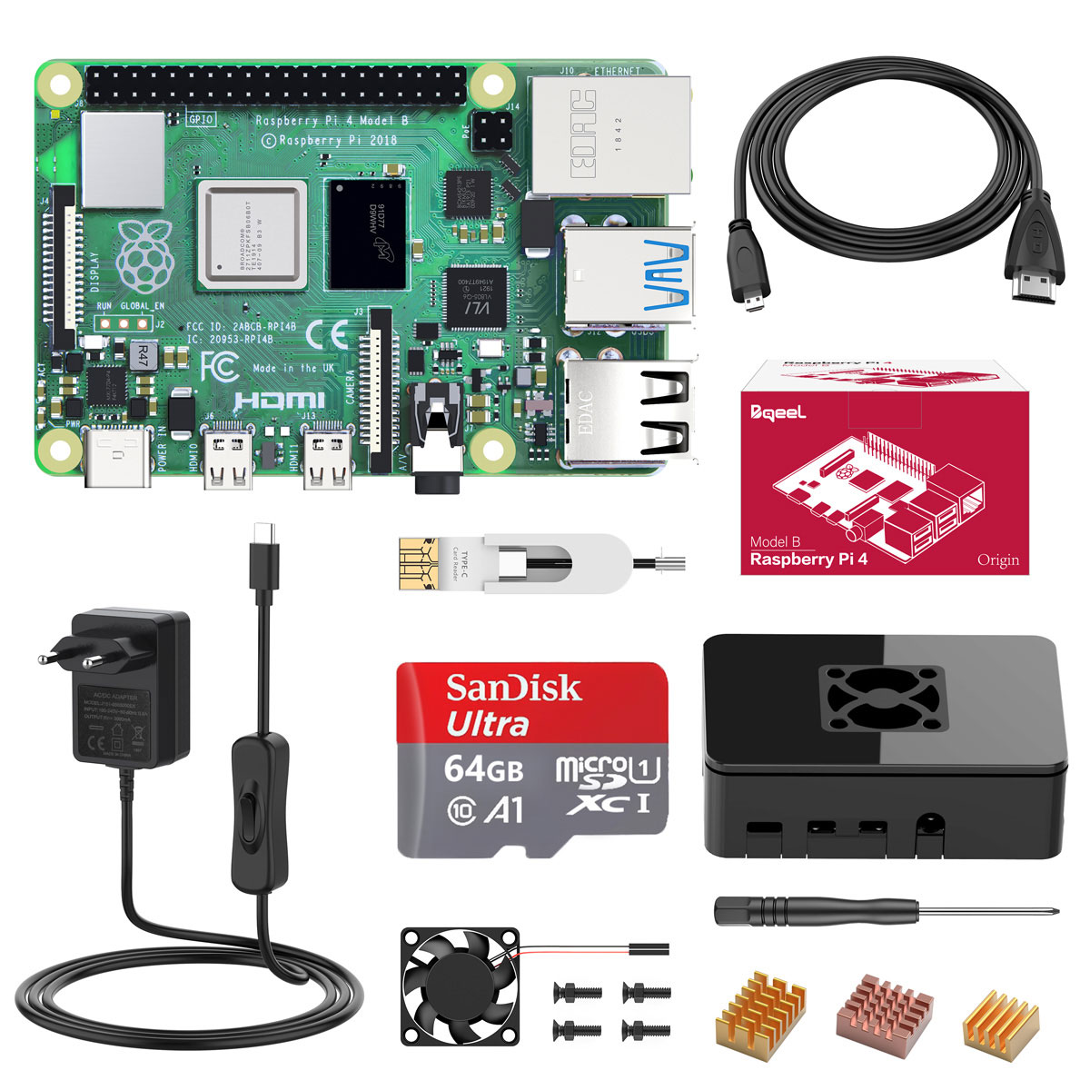 Bqeel Raspberry Pi 4 Model B 2GB Ultimate Kit with Quad-Core ARM-Cortex-A72 / 64GB Micro SD Card / Supports BT5.0 / Gigabit Ethernet / Dual Display 4K 60Hz / Upgraded for Raspberry Pi 3