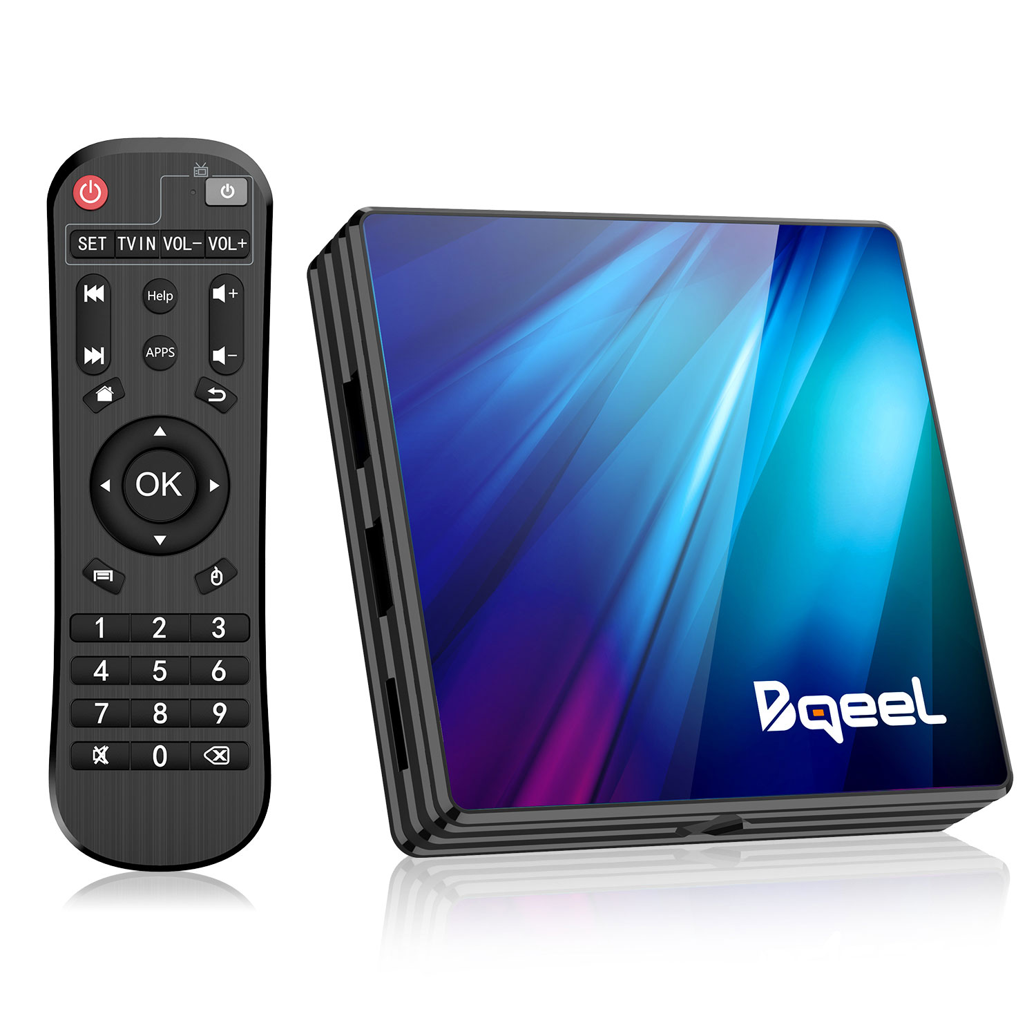 Bqeel Android TV Box 9.0 4GB RAM 64GB ROM, Android Box RK3318 Quad-Core 64bits Dual-Band WiFi 2.4G/5G BT 4.0 3D 4K Ultra HD H.265 USB 3.0 Smart TV Box