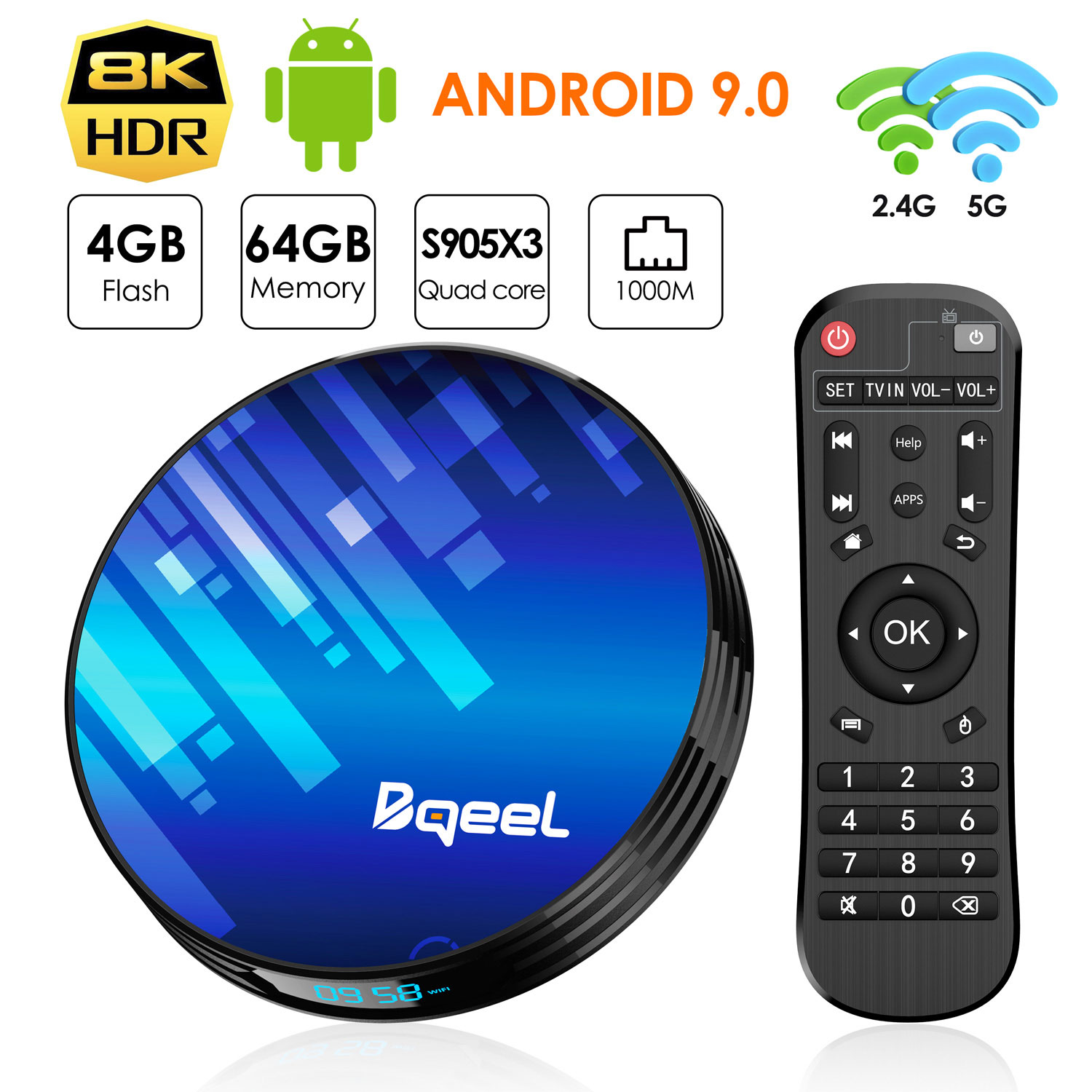 Android 9.0 TV Box 4GB RAM 64GB ROM, Bqeel TV Box Y8 Max S905X3 64-bit Quad Core with Dual Wi-Fi 2.4G/5.0G, BT 4.0/ 3D Ultra HD 8K/ H.265/ 1000M LAN/ USB 3.0 Smart TV Box